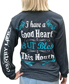 Southern Attitude I Have a Good Heart But Bless This Mouth Heather Gray Long Sleeve Women`s Shirt