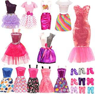 Miunana 22 pcs Doll Clothes and Shoes 12 pcs Fashion Girl Dresses Outfit 10 Doll Shoes for 11.5...
