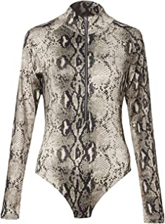 Womens Snakeskin Leopard Bodycon Top Pullover Long Sleeve Casual Party Club Tights