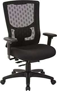 Office Star ProGrid Checkered Mesh Back and Padded Coal FreeFlex Seat, Adjustable Arms, Ratchet Back, Nylon Base Adjustable Managers Chair, Black