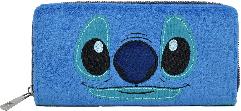 Concept One Disney's Stitch Plush Zippered Wallet, Blue
