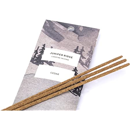 JUNIPER RIDGE All-Natural Aromatic Campfire Incense - Long-Lasting Bamboo Sticks - Aromatherapy & Meditation Therapy - No Synthetic Fragrance - Cedar - 20 Count