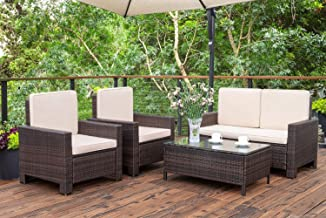 Homall 4 Pieces Outdoor Patio Furniture Sets Rattan Chair Wicker Conversation Sofa Set, Outdoor Indoor Backyard Porch Gard...