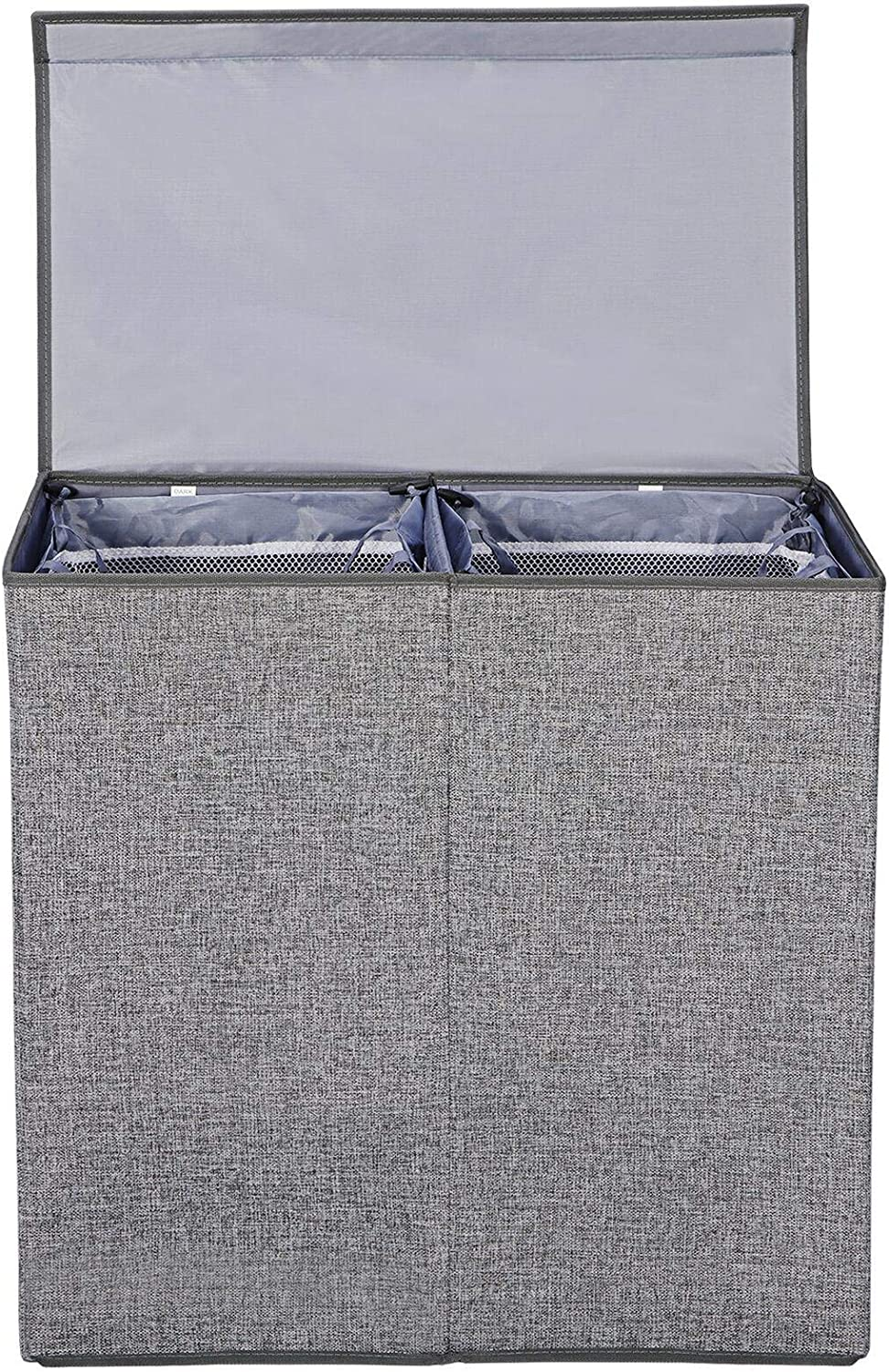 Grey Jacksonville Mall Foldable Double Laundry Hamper with New Free Shipping and Clothes Basket Lid