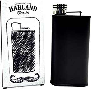 Harland Wide Mouth 8 ounce Stainless Steel Best Hip Flask For Liquor, whisky, Leakproof Easy Pour in Slim Classy Pocket Design Matte Black Engrave-able Groomsmen Gift (Raven Black)
