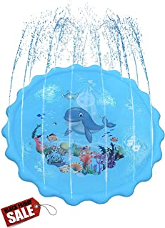 Dione Lane Splash Pad Sprinkler Mat - Kids Play Water Toys for Toddlers & Outdoor Fun, Kid Toy Sprinklers Party Activity Play - Built to Last Gift