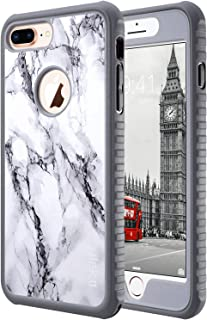 ULAK iPhone 8 Plus Case, iPhone 8 Plus Case Marble, Heavy Duty Shockproof Flexible TPU Bumper Durable Anti-Slip Lightweight Front and Back Hard Protective Safe Grip Cover for Apple iPhone 8 Plus