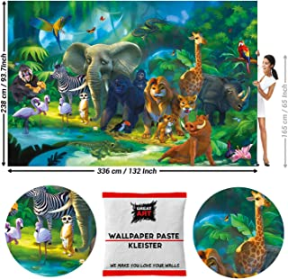 GREAT ART Photo Wallpaper Jungle Animal for Childrens Room Lion Parrot Elephant Giraffe Board Mural Decoration Decor 132.3x93.7in / 336x238cm - Wallpaper 8 Pieces Includes Paste