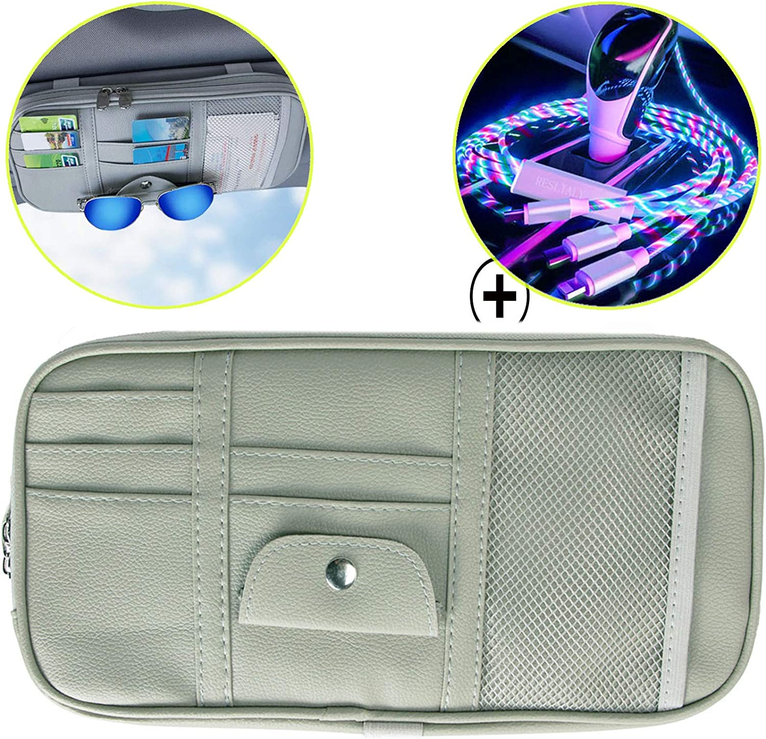 PP Board Car Storage Accessories Gray RESLTALY Car Sun Visor Storage Bag Tight Double Zipper Bag 9 Leather Texture Design Storage Compartments