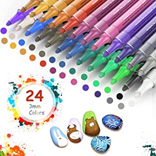 Rotuladores de Pintura Acrílica, PX 24 Colores Rotuladores Permanentes de Colores, Impermeable Marcadores para Pintura Rupestre, Cerámica, Vidrio, Madera, Tela, Artesanía DIY, 2-3mm