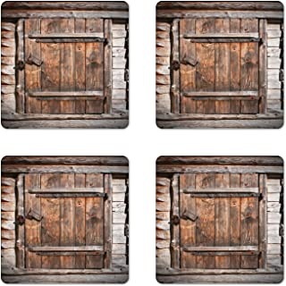 Ambesonne Vintage Coaster Set of 4, Rustic Wooden Door of Old Barn in Farmhouse Countryside Village Aged Rural Life Image, Square Hardboard Gloss Coasters for Drinks, Standard Size, Brown