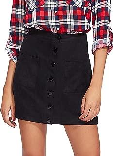 Verdusa Women's Casual Patch Pocket Button-Up A-Line Short Skirt