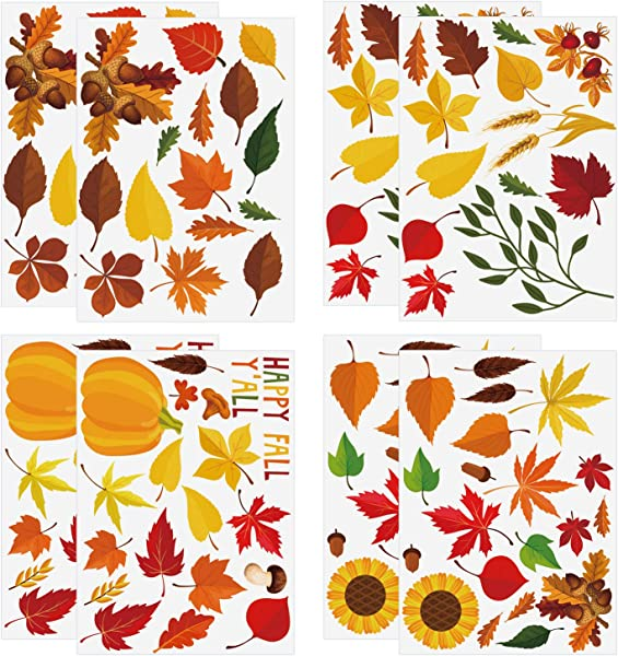 Aneco 102 Pieces Thanksgiving Fall Autumn Leaves Window Clings Autumn Leaves Maple Window Sticker For Thanksgiving Decorations