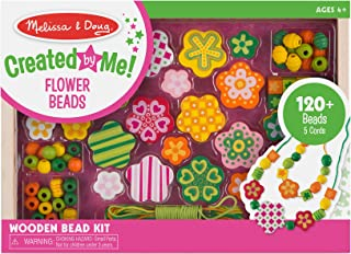 Melissa & Doug Flower Power Wooden Bead Set (Jewelry-Making Kit, 150+ Beads, 5 Cords, Great Gift for Girls and Boys - Best for 4, 5, 6, and 7 Year Olds)