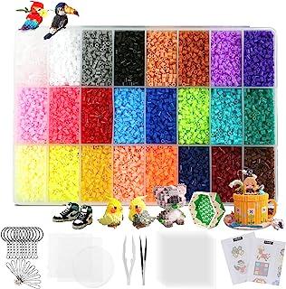 LIHAO 24000 Perles à Repasser, Taille Mini 2.6mm, 24 Couleurs, 3 Plaques pour Loisirs Créatifs