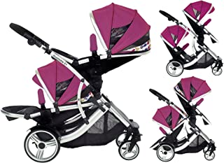 Duellette 21 BS Double Twin Pushchair with 2 footmuffs and Free Changing Bag. Complete with 2 seat Units, 2 rain Covers. D...