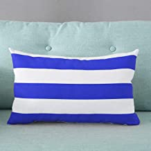 TAOSON Home Decorative Cotton Canvas Square Toss Pillowcase Cushion Cover Navy Blue Stripe Throw Pillow Case with Hidden Z...