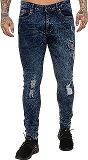 New ENZO Mens Skinny Super Stretch Fit Ripped Denim Jeans Blue Acid 32 W X 30L