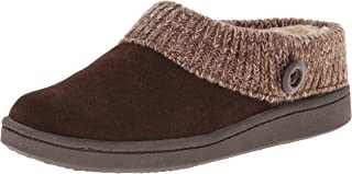 Clarks Womens Slipper Suede Leather Knitted Collar Clog Slippers - Plush Faux Fur Lining