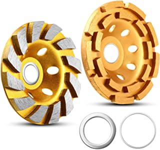 2 Pieces Diamond Cup Grinding Wheel, Include 4-1/2 Inch 644030 Double Row Grinding Wheel, 4 Inch 12-Segment Turbo Row Grinding Wheel Angle Grinder Disc for Grinder Polishing and Cleaning Stone