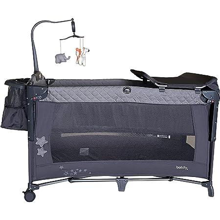 Cuna de Viaje Colecho Plegable Babify Sleep & Play. Doble Altura - Cambiador - Arco de Juegos - Portapañales. Color Soft Grey
