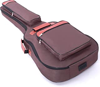 Glenmi Acoustic Guitar Case For 40'' 41'' Guitars,0.31 Inch Sponge Thick Padding Guitar Bag with 4 Pockets,Can be placed in a folding music stand(Brown)