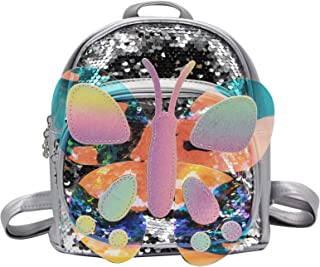 mosstyus Children Backpack, Cute Butterfly Sequin Daypacks for Girls, Mini Backpack Purse for Teens, Adjustable Straps