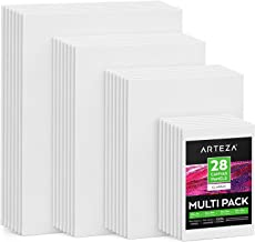 "Arteza Painting Canvas Panels Multi Pack, 5x7"", 8x10"", 9x12"", 11x14"", Set of 28, Primed White, 100% Cotton with Recycled B..."