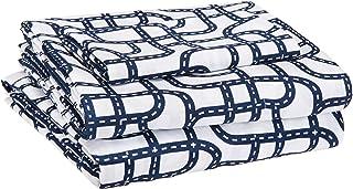 AmazonBasics Kid's Sheet Set - Soft, Easy-Wash Lightweight Microfiber - Twin, Blue Racetrack