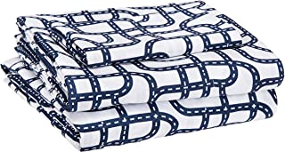 AmazonBasics Kid's Sheet Set - Soft, Easy-Wash Microfiber - Twin, Blue Racetrack