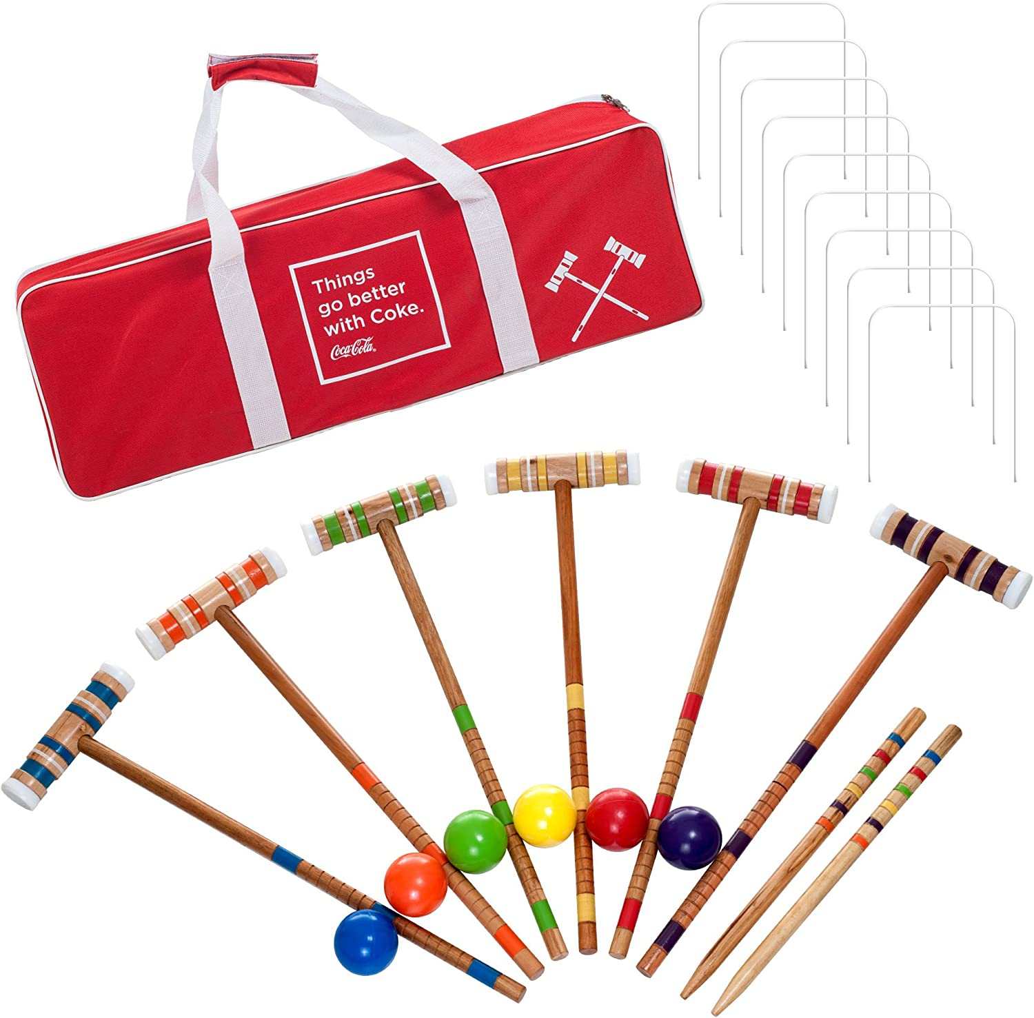 Coca Cola 24 Piece 6 Player Croquet Set  Complete Game with Carrying Case