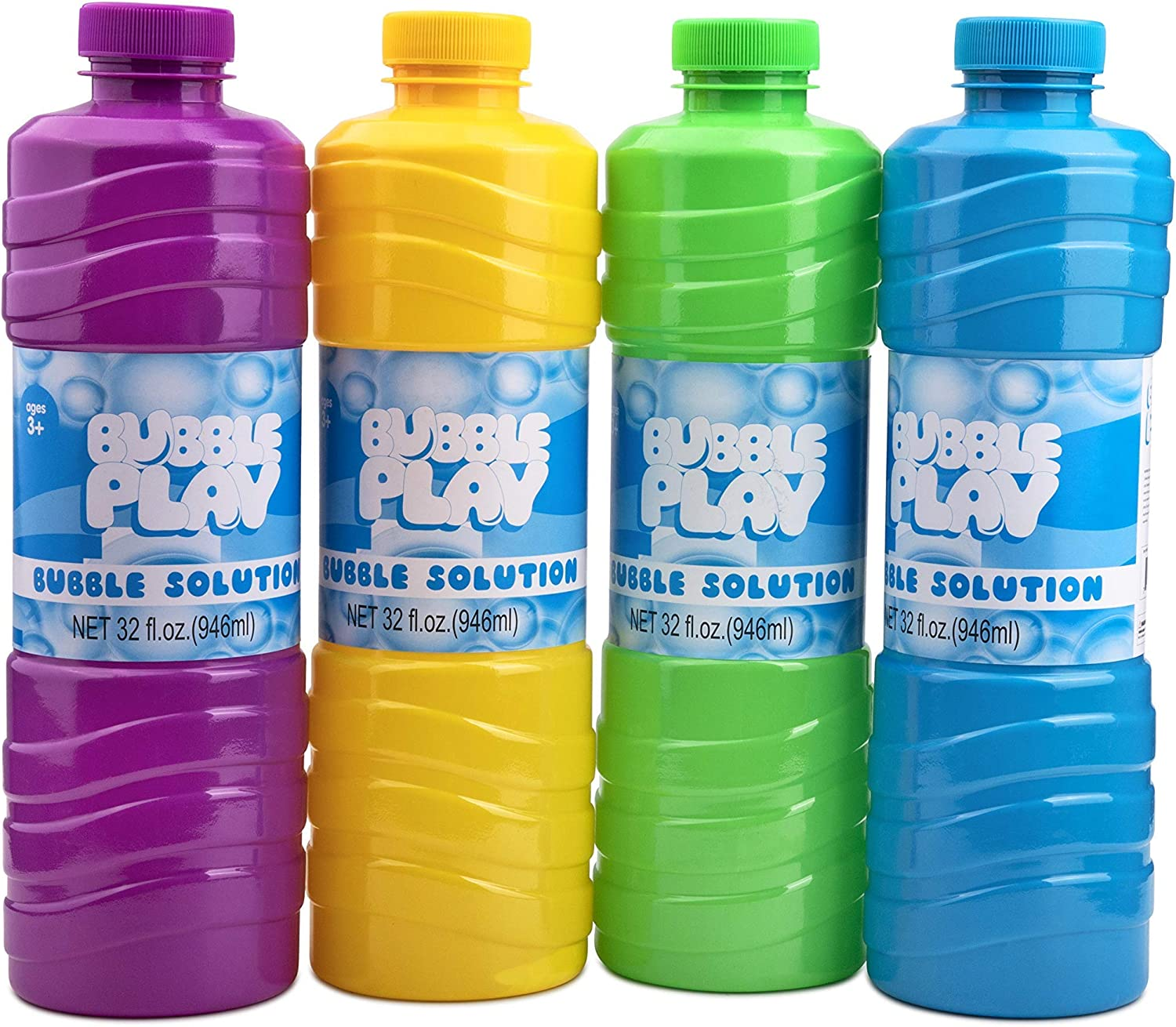 BubblePlay Bubble Solution Refill - 4 Pack Bubbles for Kids 32 O