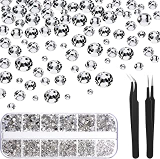 1728 Pieces Crystals Nail Art Rhinestones Round Beads Flatback Glass Charms Gems Stones and 2 Pieces Tweezers with Storage...