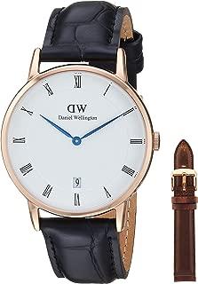 Daniel Wellington Dapper Combo stainles Steel Japanese-Quartz Watch with Leather Strap, Black, 12 (Model: DW00500289)