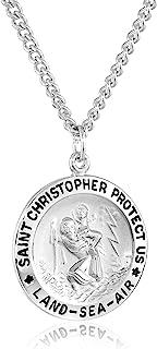 Men's Sterling Silver Round Saint Christopher Medal...