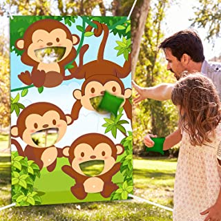 Jungle Safari Animals Bean Bag Toss Games with 3 Bean Bags Jungle Safari Theme Party Games Decoration Monkey Toss Bean Toss Games for Children Baby Shower Family Jungle Animals Theme Party Favor Suppl