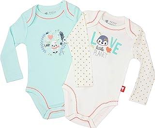 Petit Béguin - Lot de 2 bodies à manches longues en coton pour bébé fille.
