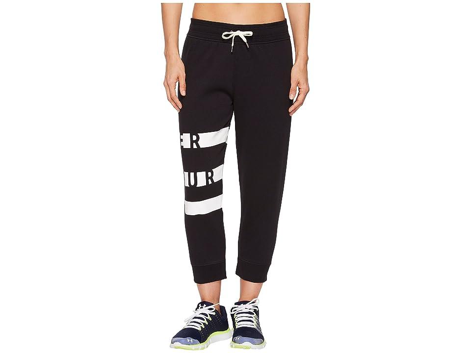 Under Armour Favorite Fleece Graphic Capri (Black/White) Women's Workout