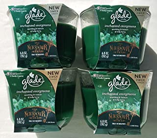 4 GLADE ENCHANTED EVERGREEN SPARKLING FIR & HOLLY BERRY 3 WICK LARGE CANDLES