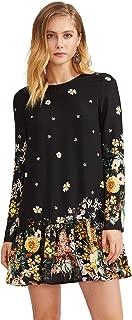Floerns Women's Floral Print Long Sleeve Drop Waist Dress