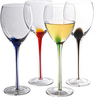 Artland Splash 11 oz Wine Glasses (Set of 4), Multicolor