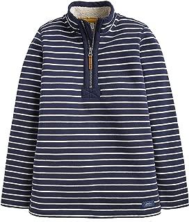 Joules Kids Baby Boy's 1/2 Zip Sweatshirt with Sherpa Trim (Toddler/Little Kids/Big Kids) French Navy Stripe 7-8