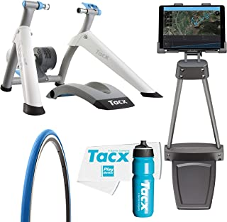 TacX Flow Smart Trainer Bundle with TacX/PlayBetter Premium 750ml Cycling Water Bottle, Floor Tablet Stand, TacX Trainer Race Tire & Large Trainer Towel | Wheel-On Design | Indoor Cycling