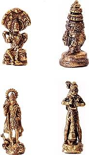 Purpledip Rare Miniature Statue Set Hindu Gods (Vishnu, Brahma, Murugan, Hanuman), Unique Collectible Gift (11418)
