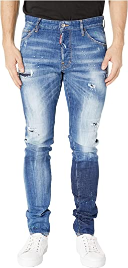 Acid Green Spots Wash Cool Guy Jeans in Blue