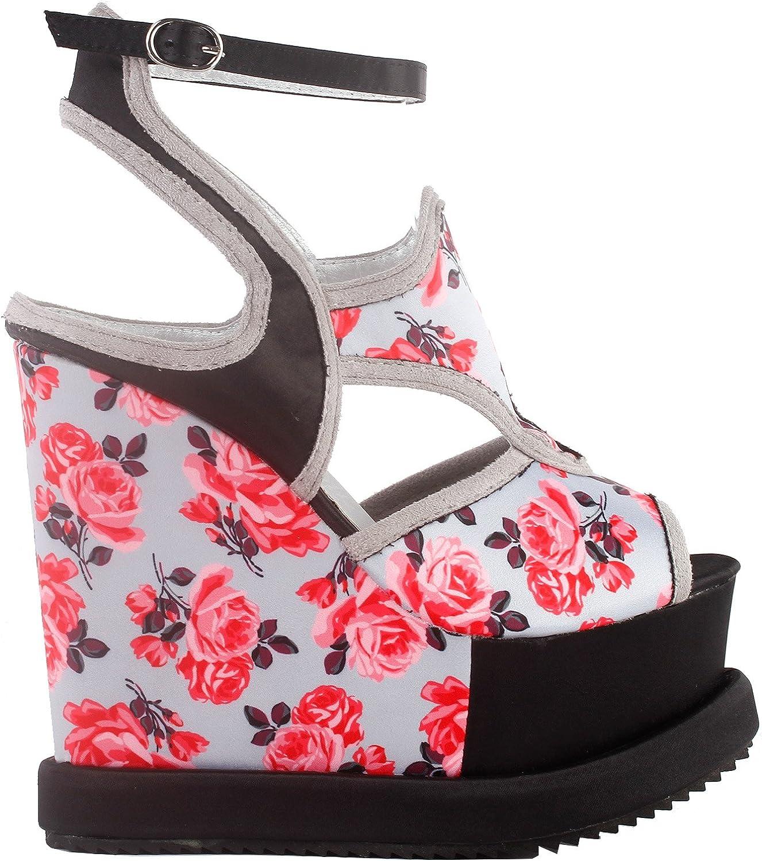 Show Story Woman Black Grey Floral Print Cut-Out Ankle Strap Wedge Platform Sandals,LF38828