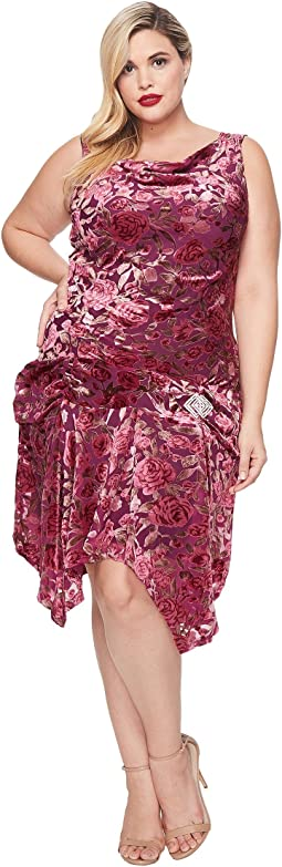 Unique Vintage - Plus Size Velma Burnout Flapper