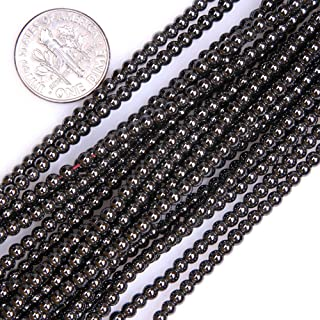 GEM-inside Hematite Gemstone Loose Beads Natural 3mm Round Crystal Energy Stone Power for Jewelry Making 15''