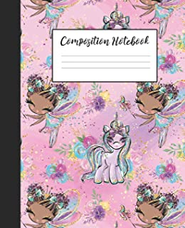 Composition Notebook: Black Girl Magic Unicorn Fairy Girls Fairies Kids   Wide Ruled Notebook Lined School Journal   100 Pages    7.5 x 9.25