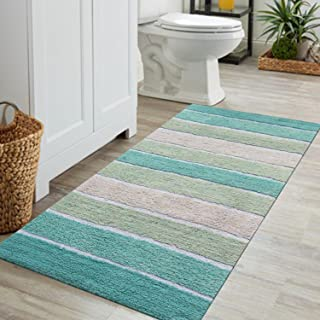 Chardin home Cordural Stripe Bath Runner, Turquoise with Latex Spray Non-Skid Backing, 24